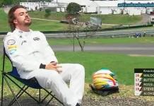 Alonso tomando el sol