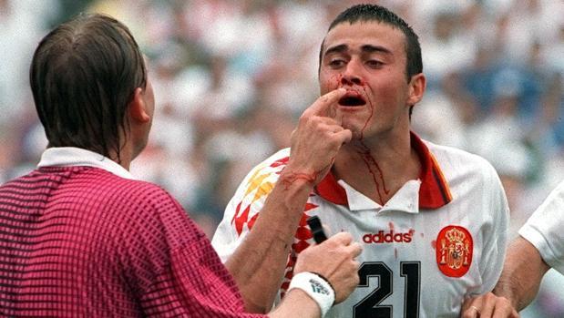 Luis Enrique sangrando